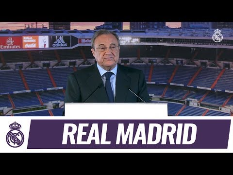 Florentino Pérez presentó a Theo Hernández en el palco presidencial del Bernabéu