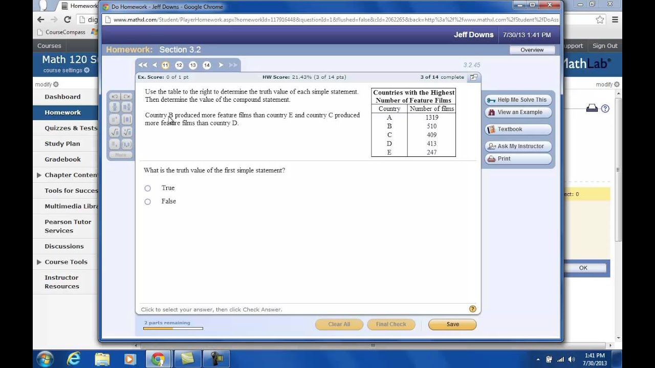 Mymathlab homework answers