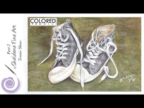 LIVE DEMO Part 2 || Tennis Shoes - Colored pencil magazines March Challenge