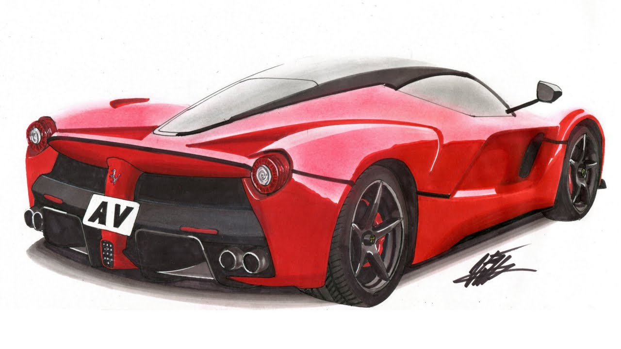 Realistic Car Drawing - Ferrari LaFerrari - Time Lapse - YouTube