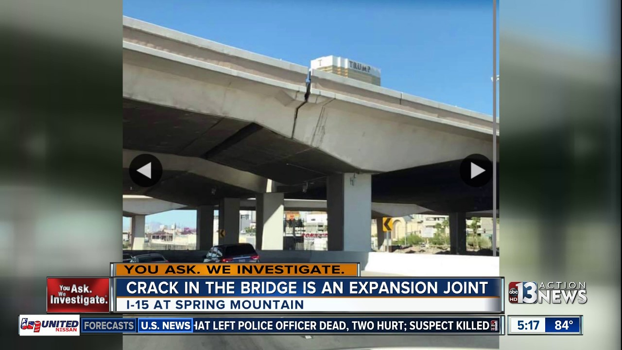 'Crack' in Interstate 15 bridge is an expansion joint