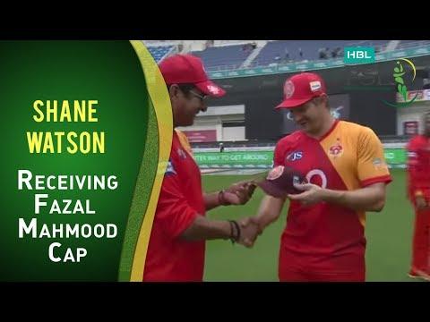 PSL 2017 Match 4: Islamabad United v Lahore Qalandars - Shane Watson receiving Fazal Mahmud Cap