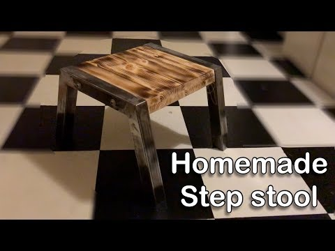 Homemade step stool. Wood and metal.