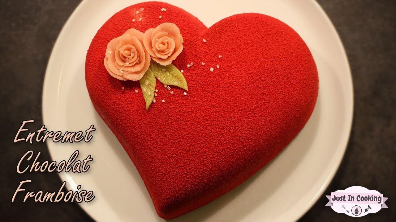 Recette d 39 entremet c ur chocolat framboise pour la saint valentin youtube - Coeur pour la saint valentin ...