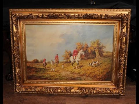 Signed Oil Painting English Hunt Scene Fox Hunting Rural Landscape Art G. Roy