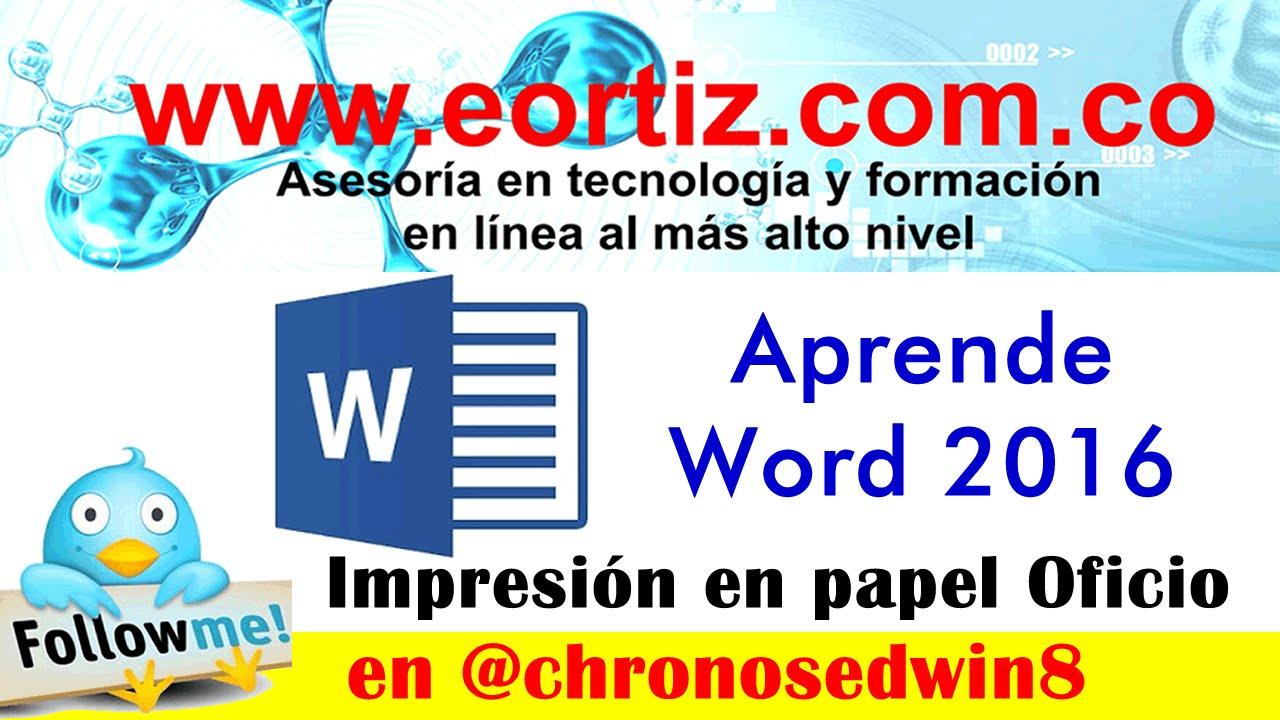 Truco1: Trabajar e imprimir con papel Oficio en Word - YouTube