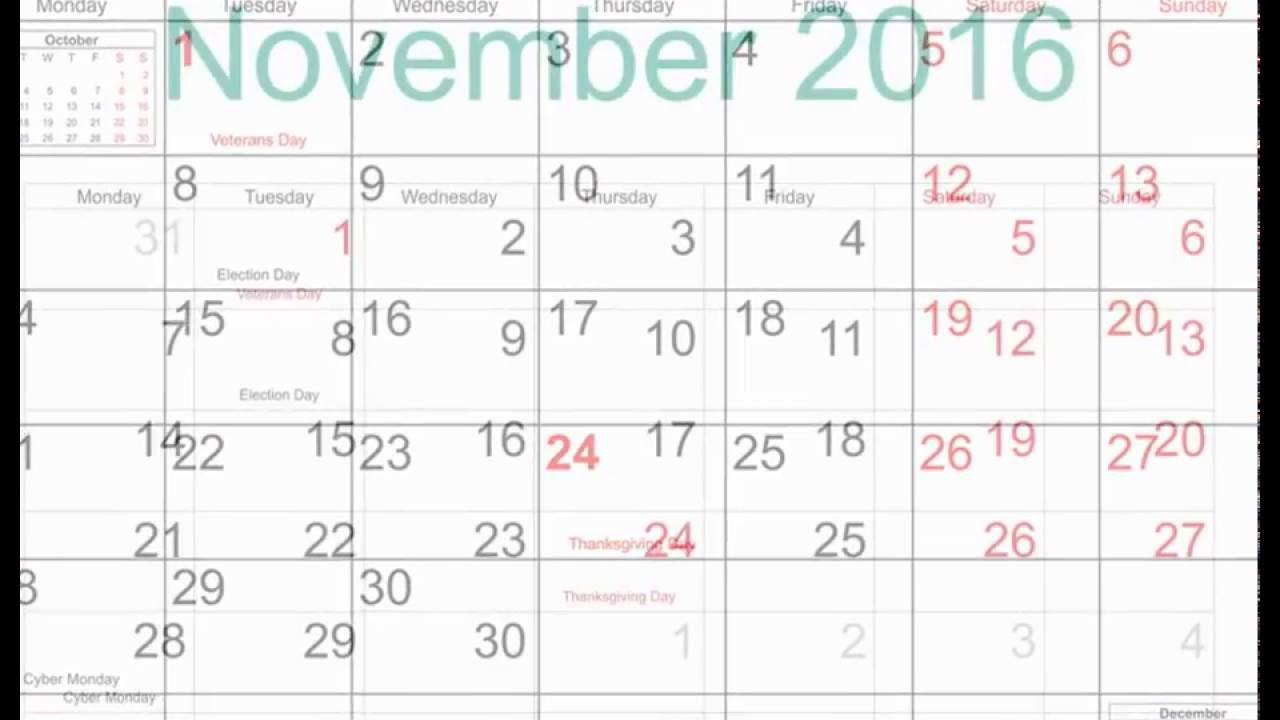 free november 2016 printable calendar with holidays