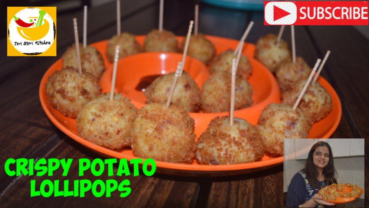 CRISPY POTATO LOLLIPOP recipe with sauce - kids snack | aloo lollipop with sauce #terimerikitchen