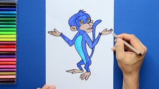 How to draw and color Jaggu from Chhota Bheem