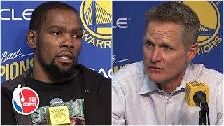 Kevin Durant and Steve Kerr reflect final regular season win at Oracle Arena | NBA on ESPN