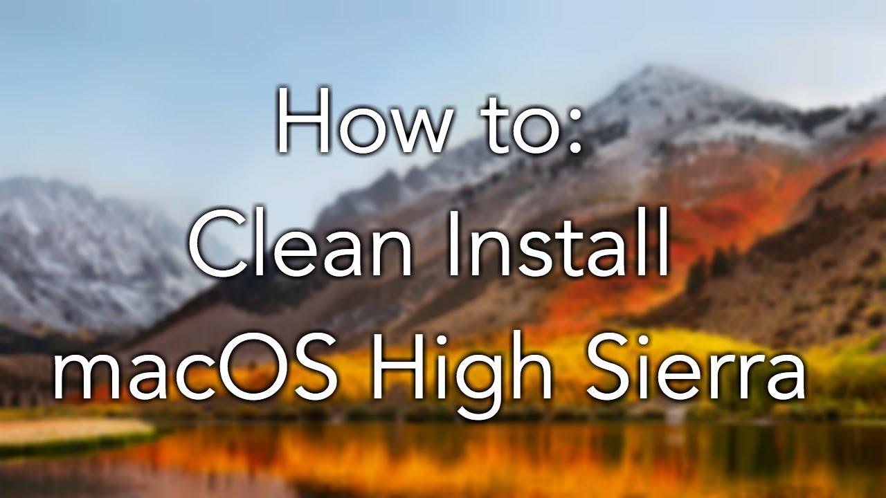 fresh install mac os high sierra