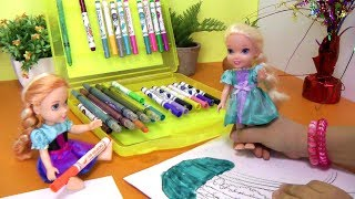 Coloring! ELSA & ANNA toddlers have fun playing and SCRIBBLING their faces!