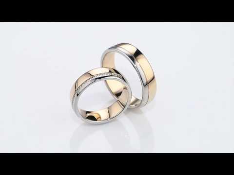 Широкие золотые обручальные кольца с бриллиантами DUO