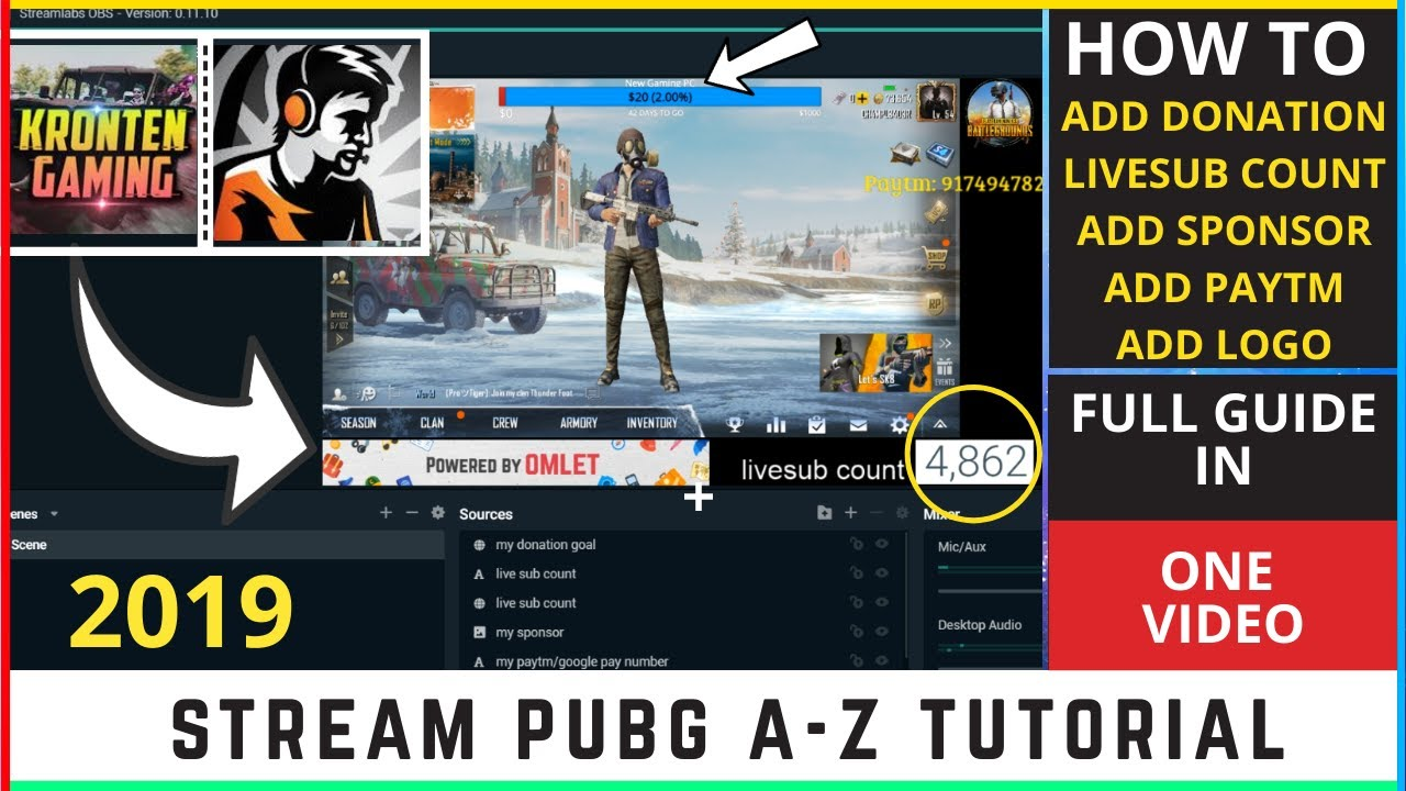 How To Stream PUBG Playing On Tencent Emulator with OBS 2019!