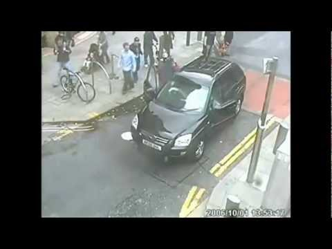 Stupid Car Drivers Crashing Into Traffic Barrier Fail