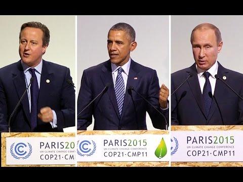 Barack Obama, David Cameron and Vladimir Putin speak at Paris climate change talks