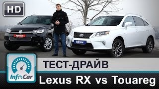 Lexus RX450h VS. VW Touareg 3.0TDI - тест-драйв от InfoCar.ua (Лексус против Туарега)(Получив на тест Lexus RX 450h с пакетом F-Sport мы на минуту усомнились в актуальности такого теста, но потом пришла..., 2014-01-20T23:25:12.000Z)