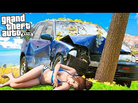 Девушка Франклина попала в аварию! Разбила машину копов реальная жизнь гта 5 gta 5