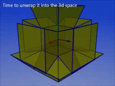 Unwrapping a tesseract (4d cube aka hypercube)