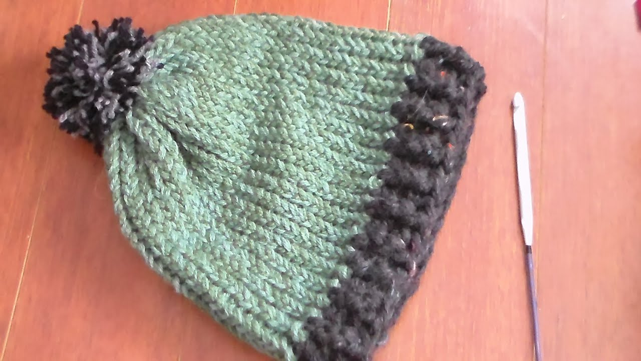 Crochet Knit Stitch In The Round : how to crochet ribbing on loom knit hat - YouTube