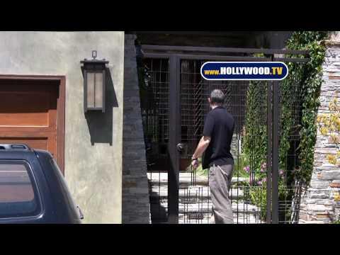 Timothy Dalton And Son Leave Oksana Grigorieva's House