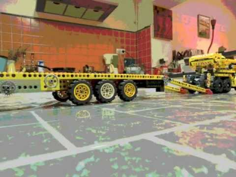 lego technic camion et remorque avec grue youtube. Black Bedroom Furniture Sets. Home Design Ideas
