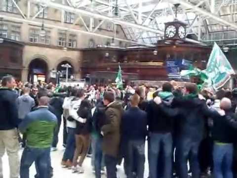 celtic fans huddle glasgow central