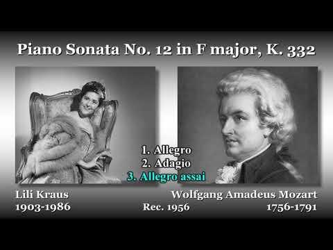 Mozart: Piano Sonata No. 12, Kraus (1956) モーツァルト ピアノソナタ第12番 クラウス