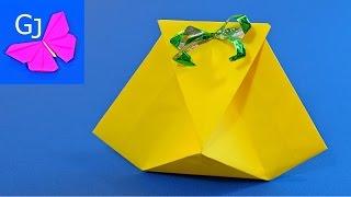 Простая оригами Коробочка для подарка из бумаги