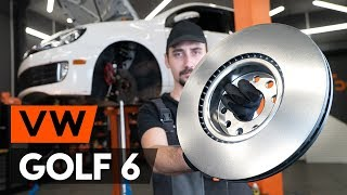 How to change front brake discs / front brake rotors on VW GOLF 6 (5K1) [TUTORIAL AUTODOC]