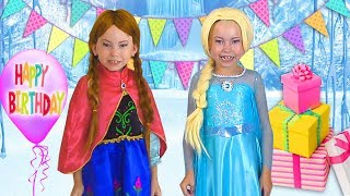 Alice Pretend Princess & preparing celebrating Happy Birthday for Frozen Elsa