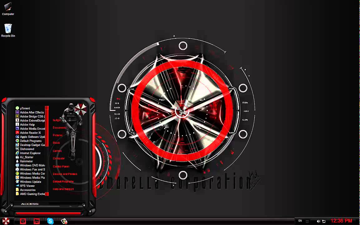 Resident Evil Windows 7 theme - YouTube