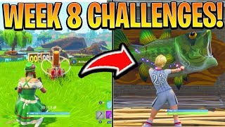 Fortnite WEEK 8 CHALLENGES GUIDE! - FISH TROPHY Locations, CLAY PIGEON SHOOTERS (Fortnite Season 6)