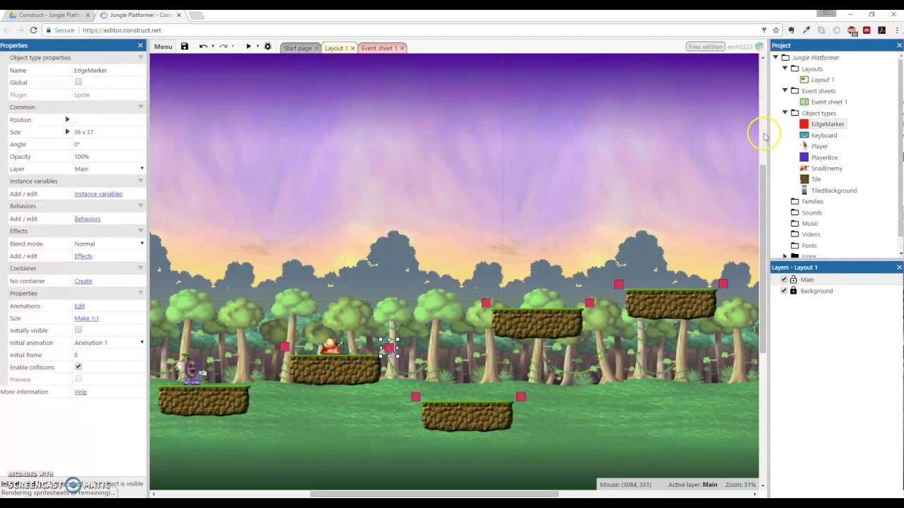 Make a Platformer Game in Construct3 (Part 10 of 10: JumpThru