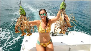Snorkeling for Lobster!! CATCH Clean and COOK on the Grill!