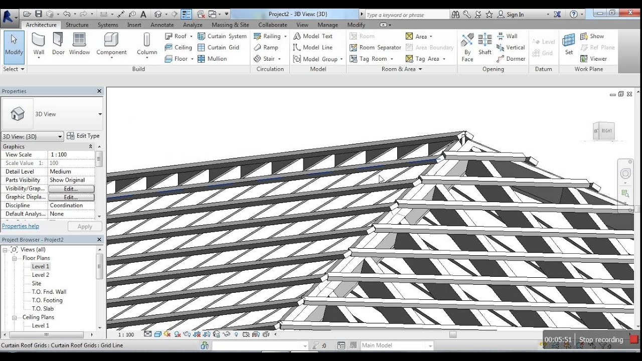 Create Roof Using Curtain Wall Youtube