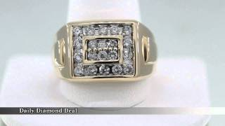 14k Yellow Gold Mens Diamond Ring Band 1 1/4 Ct