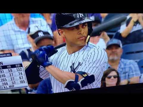 Giancarlo Stanton's first Yankee at bat 02 23 18