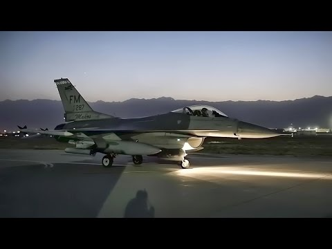 Twilight Launch Of F-16 Fighter Jets In Afghanistan