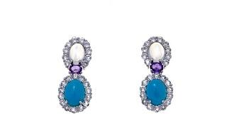 Colleen Lopez Moonstone, Turquoise   Gem Drop Earrings thumbnail