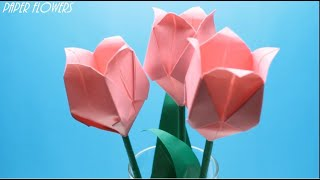 How to make flowers from paper  Origami Tulip