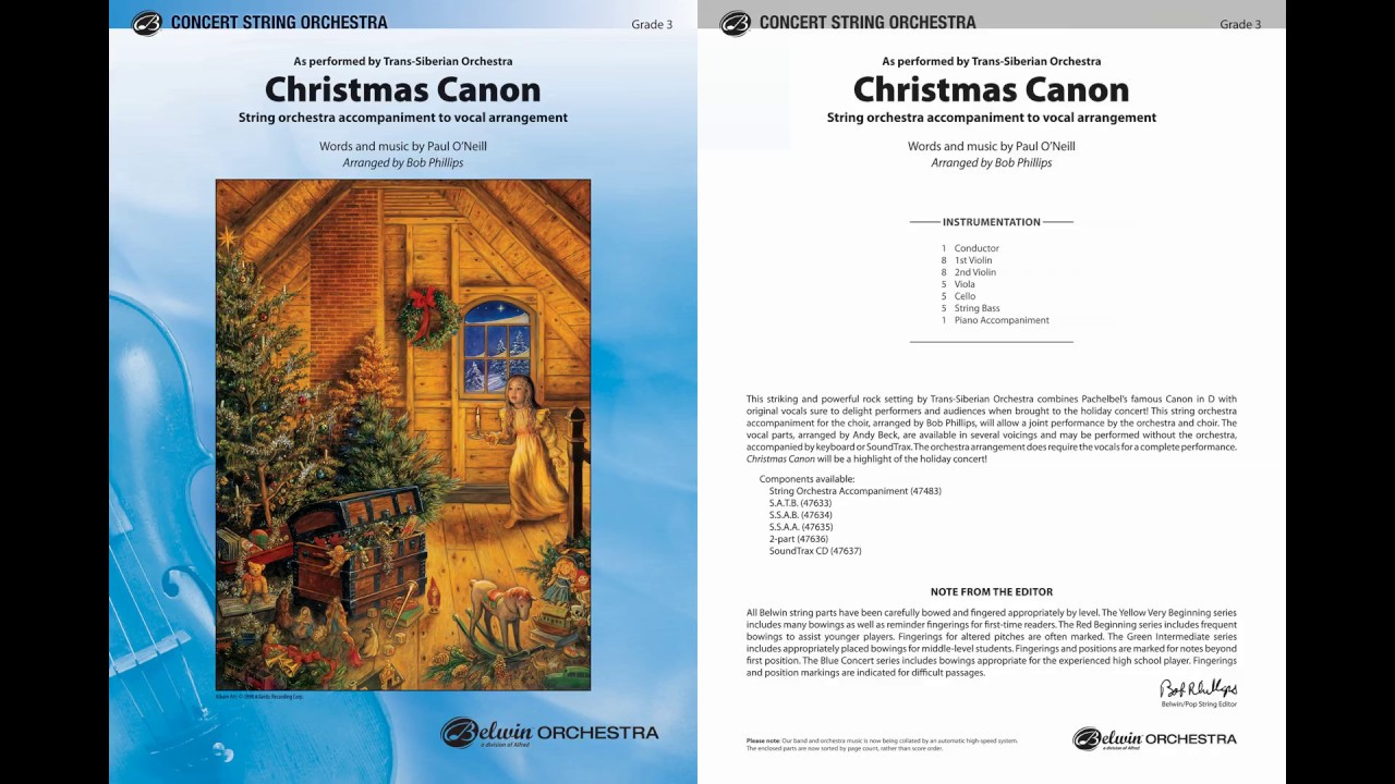 Christmas Canon.Christmas Canon Arr Bob Phillips Score Sound