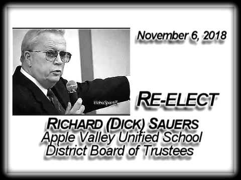 RE-ELECT RICHARD (DICK) SAUERS AVUSD BOARD OF TRUSTEES