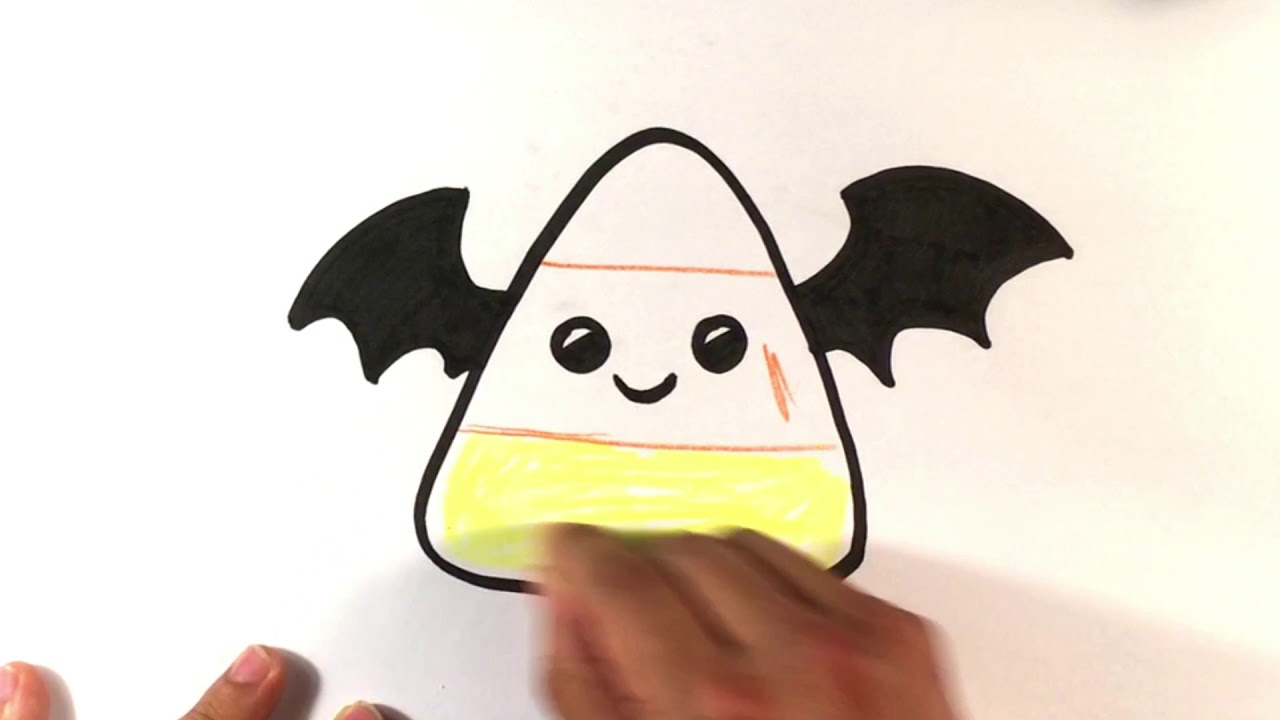 How to Draw Cute Candy Corn - Cute Bat Version - Halloween ...