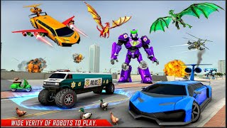 Flying Limo Robot Car Transform: Police Robot Game Happy Family Studio Gameplay screenshot 3