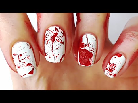Blood Splatter Nail Art Tutorial, Bloody Nails | Halloween ...