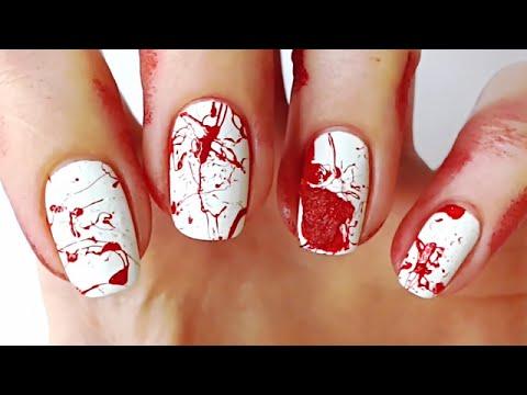 blood splatter nail art tutorial