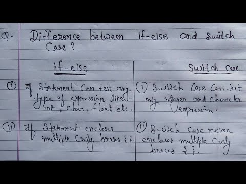 Difference Between If Else And Switch Statement | If Else And Switch Case