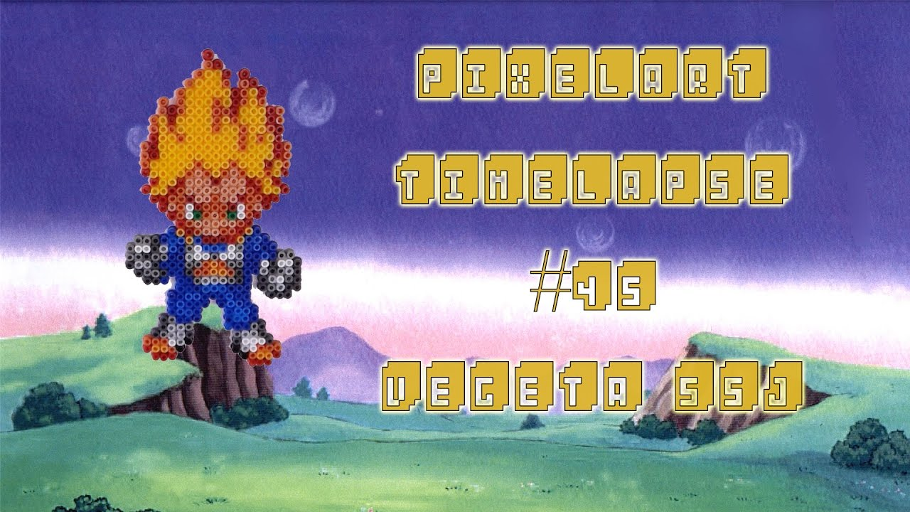 Timelapse Végéta Ssj 25mm Mini Hama Beads Dragon Ball Z Youtube