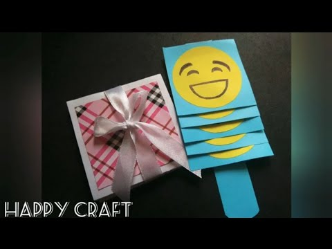 Squash card || Waterfall card with emoji || How to make these cards